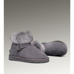 UGG Mini Fox Fur 5859 Grey Boots