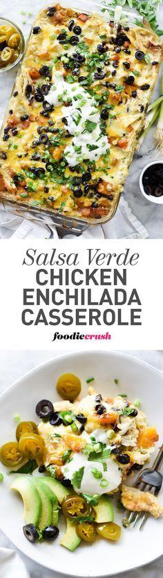 Salsa Verde Chicken Enchilada Casserole