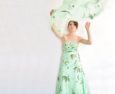 pale green forest wedding gown . fern leaf tree woodland by DOTTO