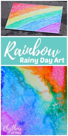 Rainbow rainy day art is a simple art and science STEAM project. Toddlers, Preschoolers, and kids of all ages will enjoy this creative rain art learning activity. No rain? Click through to find out how to try this rainy day art science activity using anot