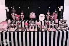 Modern Elegance Pink Black and White Dessert Table Baby Shower Party baby-shower-ideas-girl White Dessert Tables, White Desserts, Black Dessert, 21 Party, Paris Birthday, Pink Birthday, Circus Birthday, Teen Birthday, 13th Birthday