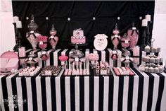 Modern Elegance Pink Black and White Dessert Table Baby Shower Party