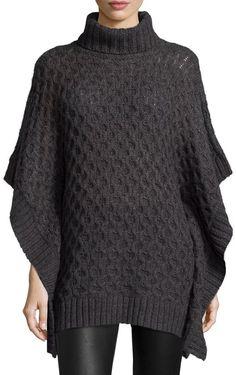 MICHAEL Michael Kors Turtleneck Textured Poncho Sweater