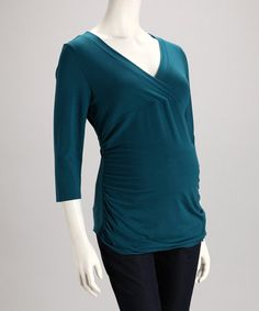 Take a look at this Teal Maternity V-Neck Top - Women by Dynabelly on #zulily today! $19.99, regular 30.00