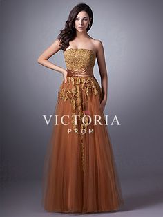 This comes in gold and burgundy  Formal Brown A-Line Floor Length Tulle Strapless Corset Prom Dress - US$ 141.99 - Style P1949 - Victoria Prom