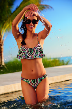 Hello sunshine. An aztec-print bikini makes summer a little more fun.