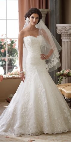 Lovely lace ~ David Tutera for Mon Cheri Spring 2014 Bridal Collection | bellethemagazine.com