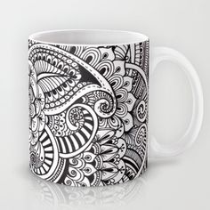 Henna Style (black and white) Mug by Dwyanna Stoltzfus - $15.00 Available in 11 and 15 ounce sizes, our premium ceramic coffee mugs feature wrap-around art and large handles for easy gripping. Dishwasher and microwave safe, these cool coffee mugs will be your new favorite way to consume hot or cold beverages. swirls, leaves, flowers, doodle, henna, tattoo style, zentangle,