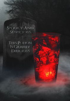From AMC theaters - Wicked Spirit (a frighteningly delicious drink with Angry Orchard Hard Cider, Fireball Cinnamon Whisky and a glow cube for effect.