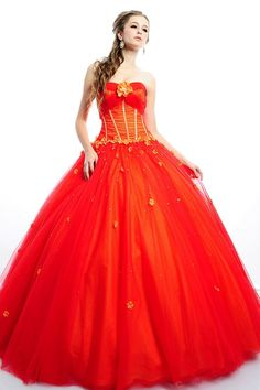 Attractive Orange Red Sweetheart Beaded Flowers Satin Tulle Floor Length Quinceanera Dress for Adult Party in Style of Ball Gown