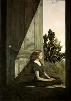 """Andrew Wyeth  This tempera called """"Christina Olson"""" features the same Christina famous from Wyeth's best-known painting, """"Christina's World."""" The low-key colors of Wyeth's work stem partly from his frequent use of tempera, a technique he began using in 1942. Unlike the oil paint used by most artists today, tempera produces a matte effect."""