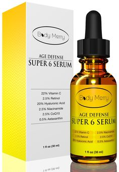 22% Vitamin C Serum for Face with 2.5% Retinol, 20% Hyaluronic Acid, 2.5% Niacinamide, 2.5% CoQ10 and 0.5% Astaxanthin