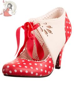 BANNED 50's MARY BETH polka dot SHOES vintage style heels RED & WHITE #Banned #StrappyAnkleStraps #Casual
