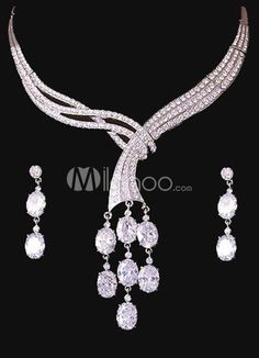 Glitter Rhinestone White Jewelry Set For Bridal. Earrings Size 3.8*1 cmPendant Size 6.3*1.3 cmChain Length 38-43 cm. See More Wedding Jewelry Sets at http://www.ourgreatshop.com/Wedding-Jewelry-Sets-C924.aspx