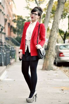 red suit with classic blouse and pants
