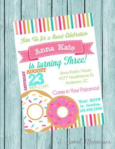 Girls Donut Party Printable Invitation by 3SweetMemories on Etsy, $8.50