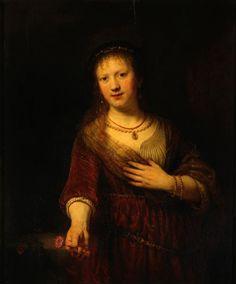 Saskia mit der roten Blume. Rembrandt 1641. Gemäldegalerie Alte Meister, Dresden