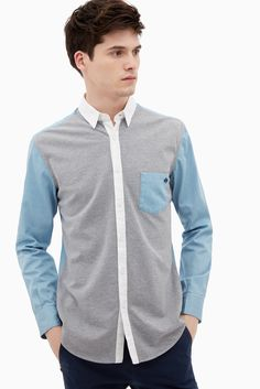 Cotton Jersey And Chambray Shirt - shirts | Adolfo Dominguez shop online