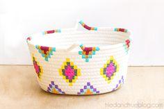 DIY: Kilim-Inspired painted basket