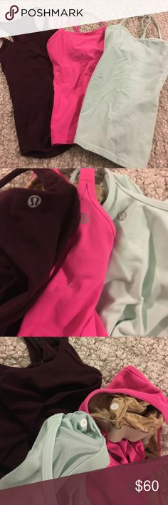 """Lululemon Racerback Tank Top Lot Bought this from a different Poshmark seller but too tight for my liking so trying to resell. Slim fit spaghetti strap tank tops. 2 have built in bras. All 30-32"""" bust and 21-27"""" in length. All in great condition! lululemon athletica Tops Tank Tops"""