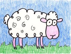 Cartoon Sheep | Art Projects for Kids. PDF tutorial available. #howtodraw #artprojectsforkids