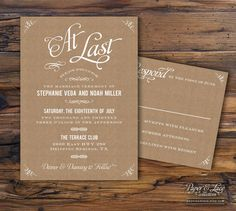white and tan wedding invitations | Kraft Paper Wedding Invitations - Piktoland | Art, Design, Photography ...  I like the white on tan