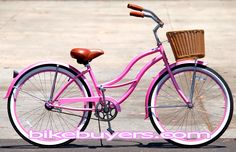 Pink Beach Cruiser with basket! Got it for my Birthday!