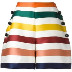Carolina Herrera Stripes Shorts (65.185 RUB) ❤ liked on Polyvore featuring shorts, multi colored shorts, stripe shorts, striped shorts, colorful shorts and carolina herrera