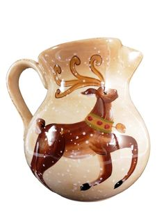 Tabletops Unlimited Ceramic Pitcher Winter Wonderland Reindeer #TabletopsUnlimited
