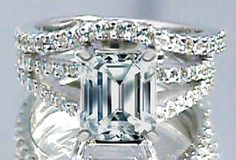 Emerald Cut Diamond Split Band Engagement Ring Beyonce's Choice