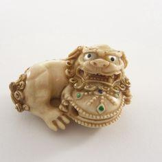 Mammoth Ivory Netsuke - Jewel Chinese Lion Playing Ball