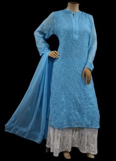 ISHIEQAs Chikankari-Embellished Georgette Blue Kurti-MV1001E Cotton Anarkali, Anarkali Kurti, Green Cotton, Black Cotton, Pink Kurti, A Line Kurti, Tunic Tops, Pure Products, Silk