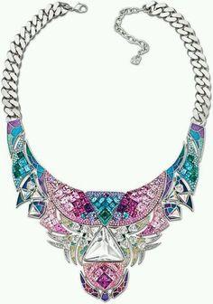 Swarovski necklace bib purple turquoise