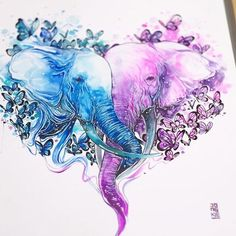 Romantic purple-and-blue watercolor elephant couple tattoo design