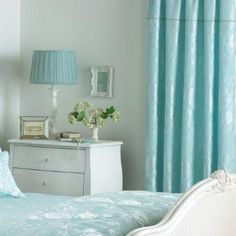 Balmoral Floral Damask Jacquard Pencil Pleat Curtains, Duck Egg Blue, 66 x 72 Inch