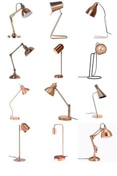 Treat your home office to one of these stylish copper desk lamps. Or position on your bedside table for a night-time read. Available in various styles, from modern to industrial. Art Studio Room, Study Table Designs, Lamp Inspiration, Inspiration Boards, Decorative Floor Lamps, Study Lamps, Work Lamp, Copper Lamps, Bedside Table Lamps