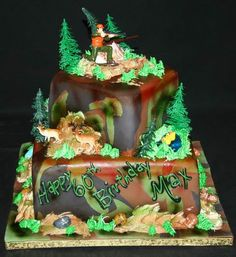 Deer Hunting On A Tree Stump Colten birthday cake ideas