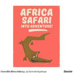 Crocodile Africa Safari poster! Postcard