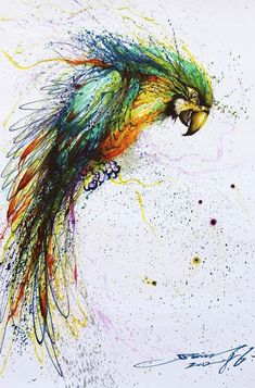Week 3, Pin 3: splatter painting, Chen Yingjie, 2012. This painting blows my mind. A bird is created by the way the white areas in the splattered paint are laid out. The white space around and throughout the parrot lead your eye through the whole bird. This is so creative and I really enjoyed finding it.