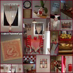 Tablier de cuisine à carreaux Vichy rouges et blancs et motifs de ...