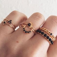 Style : Fashion Color : Gold,Silver Material : ring set consists of 6 pieces different rings,inlaid with black gem,which makes it look moreshinning and attractive. Embellish your fingers with this ring set. Black Gems, Black Jewel, Black Stones, Jewelry Sets, Women Jewelry, Fashion Jewelry, Style Fashion, Jewelry Logo, Jewelry Quotes