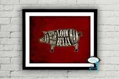 Set of 4 Butcher Diagrams Pig Chicken Lamb and by stagedpresents