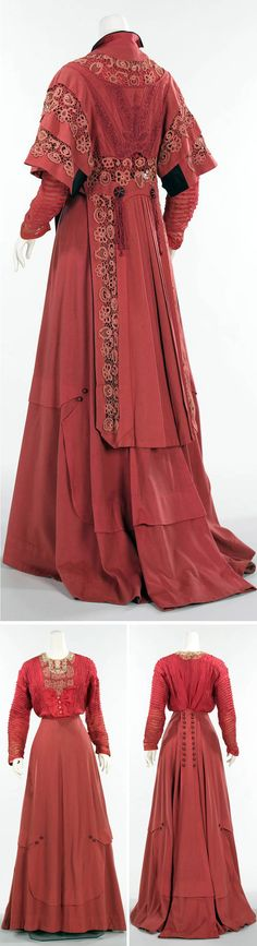"""Ensemble, James McCreery & Co., New York, ca. 1907. Wool, silk, cotton. Metropolitan Museum of Art: """"This detailed American day ensemble is a finely detailed example of the period. According to the donor, Mrs. Philip J. Roosevelt, it was worn by her sister Gladys Roosevelt."""" The donor was a cousin to Theodore Roosevelt."""""""