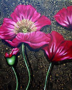 "Saatchi Art Artist: Cherie Roe Dirksen; Acrylic 2012 Painting ""Red Poppies"""
