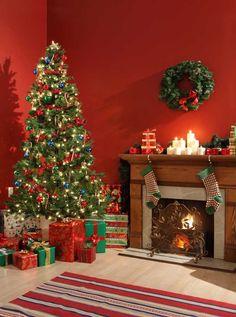 x073 Red Christmas Living Room Backdrop