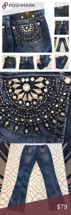 """Gorgeous Miss Me Jeans28 5/6 30"""" Hemmed! Gorgeous Design Miss Me JeansBeautiful Bling Detail in half circle pattern is stunning! Faded Allover Throughout Denim. Awkward folded hem has created More Fading. Almost sort of works with the look, imo. ; ) Could be let out to add 4"""" & create almost 34"""" long tall Inseam. Left as is. Or cut & hemmed. Capri. Cuffed. Rolled Up. Crop. Cropped Look. ; ) 29.75"""" Inseam. 8"""" Rise. 15"""" Across Back. Awesome Stretch. Signature Rise. Silver Thick Stitching. The…"""