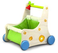 $89.99-$98.00 Baby Toddlers will love pushing the adorable Jolly Walker Push Cart! The Jolly Walker push carthas removable soft storage compartment for easy cleaning. Beautifully designed wooden frame. Friction control on wheels for safetySmart Gear/Wonderworld takes great pride in bringing both enjoyment & education to children through high quality wooden toys. For over 20 years Wonderworld p ...