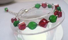 Red and Green Christmas Bracelet with Glass Beads by Sparklesalot2, $9.25