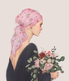 "878 Likes, 29 Comments - Karina Yashagina (@karinaias) on Instagram: ""#procreate #illustration #artwork #digitalart #drawing #painting #pinkhair #pink #flowers…"""