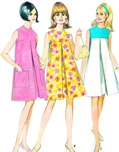 1960s Dress Pattern McCalls 8755 Mod Sleeveless by paneenjerez, $10.00